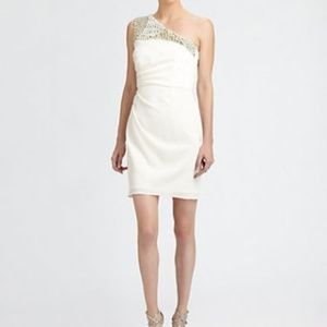White One Shoulder Beaded cocktail dress, New!
